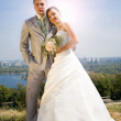 Groom and the bride against a city and trees. In all growth. — Stock Photo