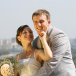 Portrait smiling groom and bride — Stock Photo