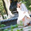 Royalty-Free Stock Photo: Groom and bride joy against backdrop fountain