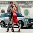 Young beautiful couple backdrop car, money. — Stock Photo