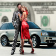 Young beautiful couple backdrop car, money. - Stock Photo