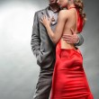 Fashion shot of a Young Couple a trendy european couple dressed — Stock Photo