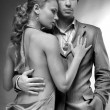 Portrait of a young beautiful couple. Young woman embraces man. — Stock Photo