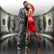Portrait young beautiful couple. money, 100 american dollars — Stock Photo #4708825
