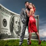 Portrait young beautiful couple. money, 100 american dollars — Stock Photo