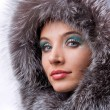 Portrait of the beautiful young woman with a fur hood — Stock Photo #4708953