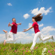 Happy smiling couple jumping in sky above a green meadow — Stock Photo #4709009