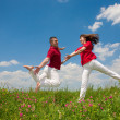 Happy smiling couple jumping in sky above a green meadow — Stock Photo