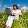 Happy Young Woman on the grass field with a laptop - Stock Photo