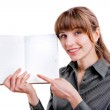 Beautiful businesswoman holding a diary in front of her. Specifi — Stock Photo