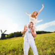 Young love Couple smiling under blue sky — Stock Photo #4709195