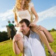Young love Couple smiling under blue sky — Stock Photo #4709197