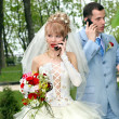 Bride and groom talk by phones - Stock Photo