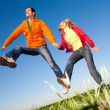 Stock Photo: Happy smiling couple jumping in sky above a green meadow