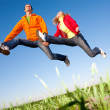 Happy smiling couple jumping in sky above a green meadow — Стоковое фото