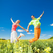 Happy is jumping in field - Stock Photo