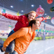 Portrait Young love Couple smiling under interior shop — Stockfoto