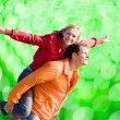 Portrait Young love Couple smiling — Stock Photo #4709707