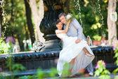 新郎和新娘喜悦反对背景喷泉。在所有的增长. — 图库照片