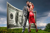 Portrait young beautiful couple. money, 100 american dollars — Foto Stock