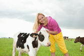 Girl play with a little calf in the field — Stock Photo