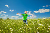 Happy boy the field — Foto Stock