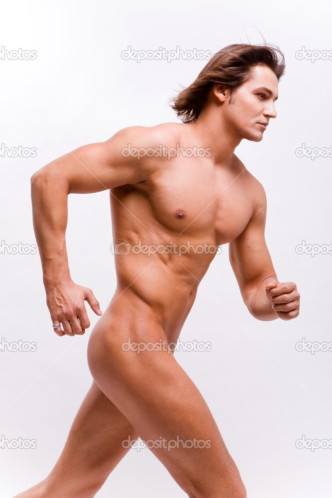 Muscular sexy Man with a naked torso isolated on white — Stock Photo #4708303