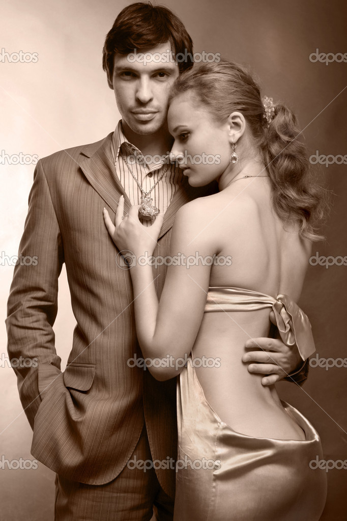 Fashion shot of a Young Couple a trendy european couple dressed in contemporary cloth.  — Stock Photo #4708795