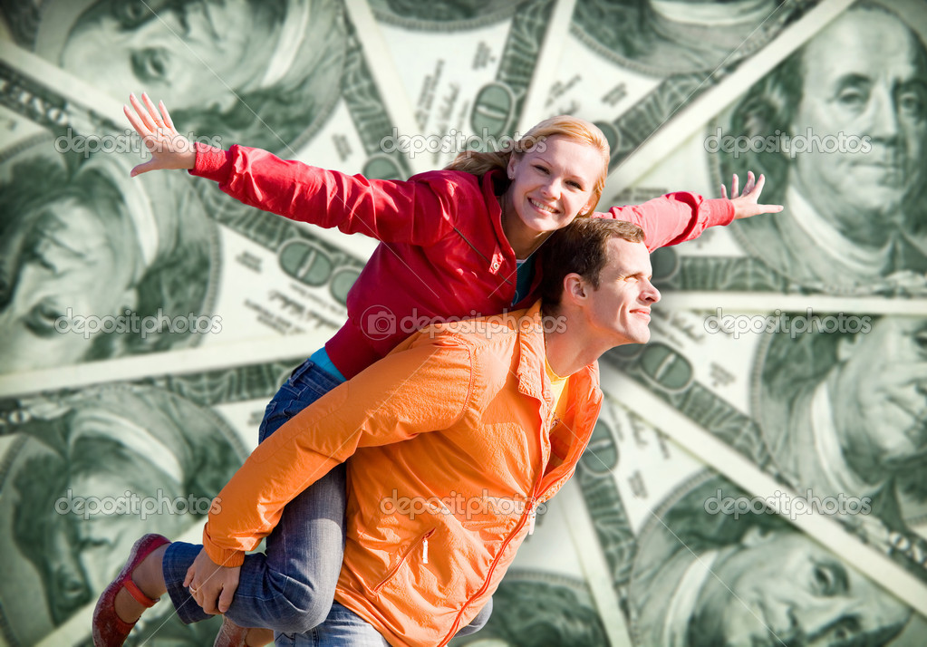 Portrait Young love Couple smiling money, 100 american dollars — Stok fotoğraf #4709682