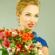 Stok fotoğraf: Portrait Beautiful girl with flower. Focus on eyes