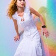 Beautiful Young Woman with bright background. In a white dress — Stock Photo #4710426