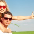 Young love Couple smiling under blue sky — Stock Photo #4710750