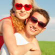 Young love Couple smiling under blue sky — Stock Photo #4710752