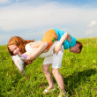 Two fan children playing on the field — Stock Photo #4710869
