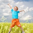 Happy boy jumping the field — Stock Photo