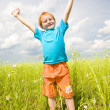Happy boy enjoy on meadow — Stock Photo #4710964
