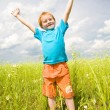 Happy boy enjoy on the meadow - Stok fotoğraf
