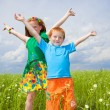 Two golden-haired children playin the field — Stock Photo #4710986