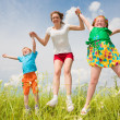 Mother with children Having Fun in the field - Stock Photo