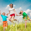 A mother with children goes on the field — Stock Photo #4711012