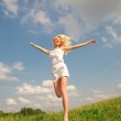 Happy young women running in field — Stock Photo #4711056