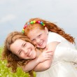 Mom and Daughter Having Fun in the field. Foces on eyes. — Stock Photo