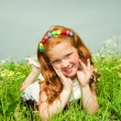 Pretty girl having fun in the field — Stock Photo #4711215