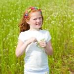 Pretty girl having fun in the field — Stock Photo #4711239
