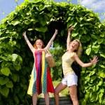 Two happy young women enjoying summer — Stock Photo #4711253