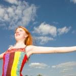 Girl in a field enjoying summer — Stock Photo #4711285