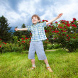 Happy boy the field — Stock Photo