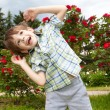 Happy boy against of rose bushes — Stock Photo #4711429