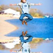 Happy jumping boy on beach — Stock Photo