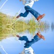 Happy jumping boy — Stock Photo